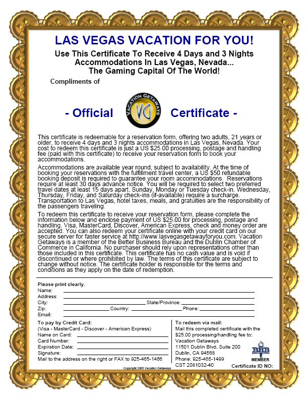 Vacation Certificates Best Design Sertificate 2018